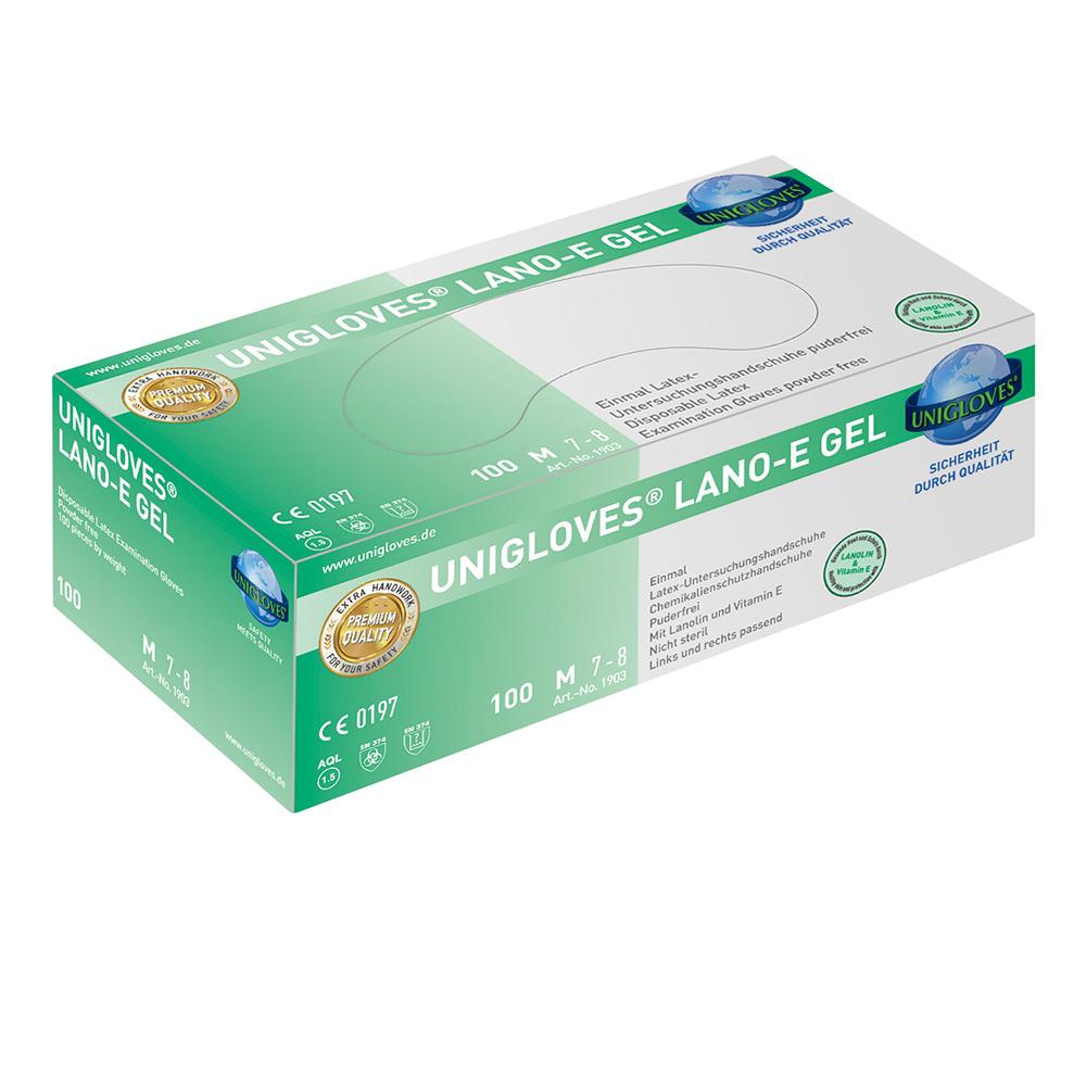 Unigloves Lano-E Gel | Latexhandschuhe | 100 Stück | Größe L