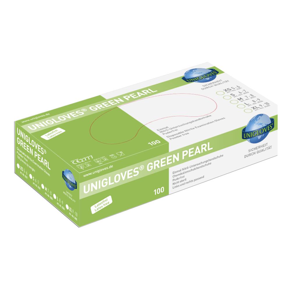 Unigloves Green Pearl | Nitrilhandschuhe | 100 Stück | Größe M