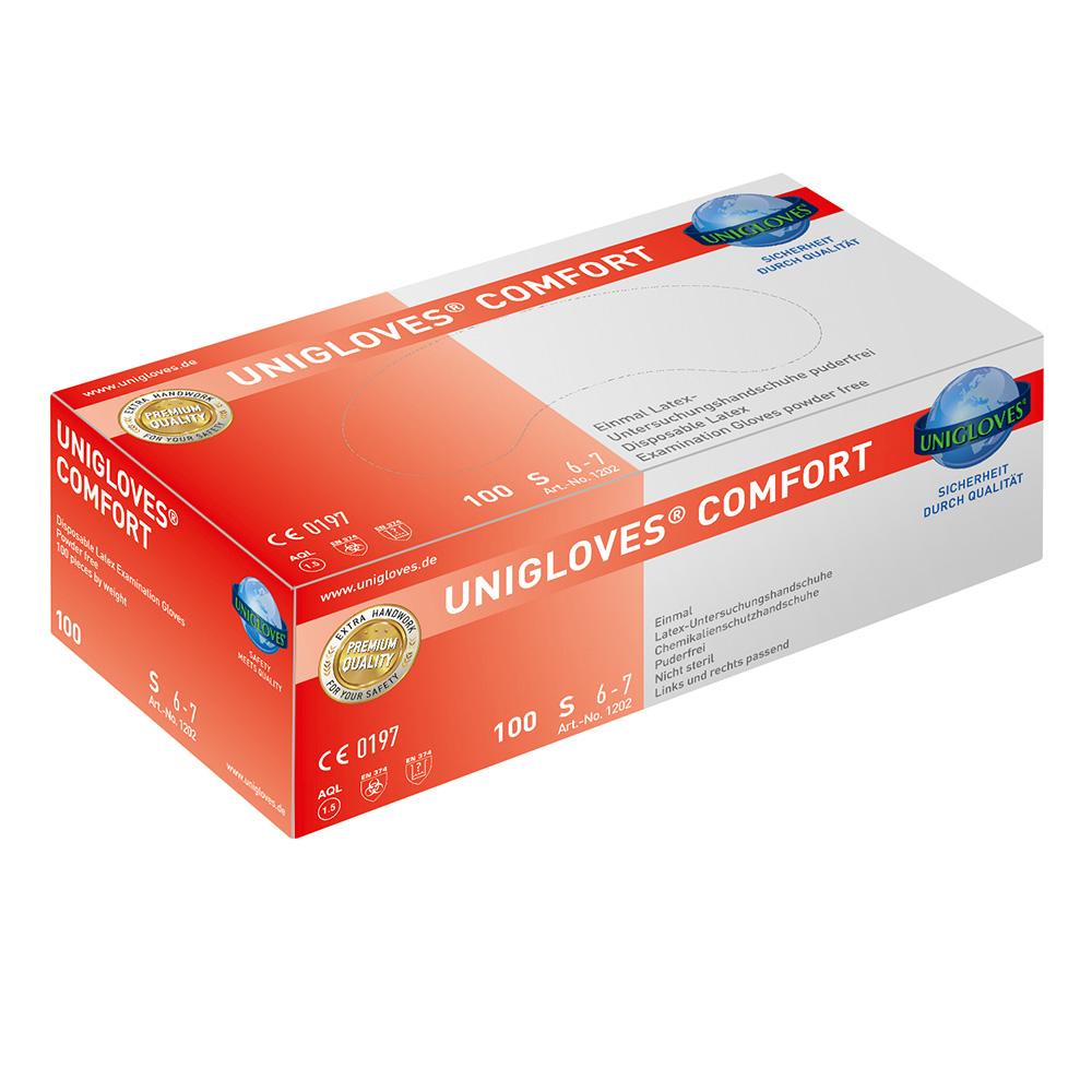 Unigloves Comfort | Latexhandschuhe | 100 Stück | Größe XS