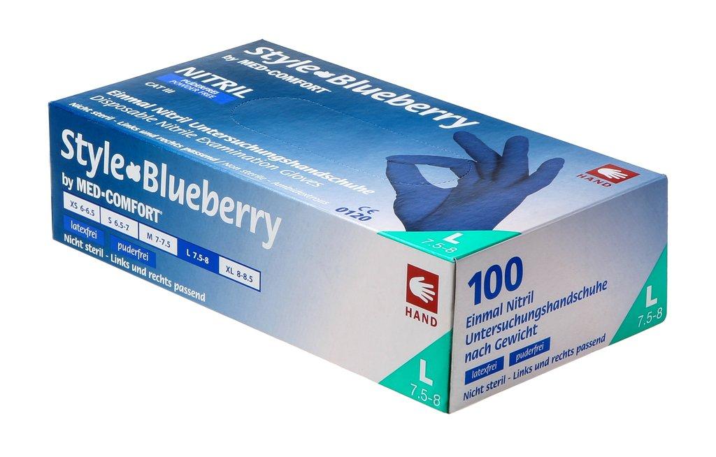 Med-Comfort Style Blueberry | Nitril Handschuhe | 100 Stück | Dunkelblau