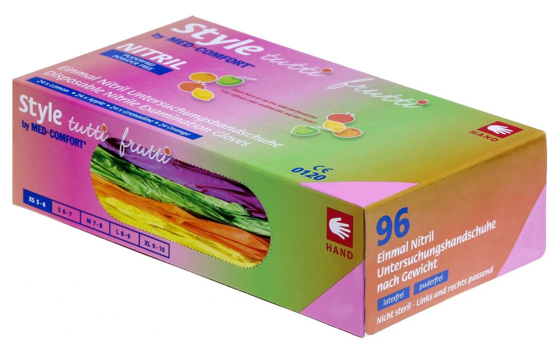 Med-Comfort Style Tutti Frutti | Nitril Handschuhe | 96 Stück | 4 versch. Farben | Größe M