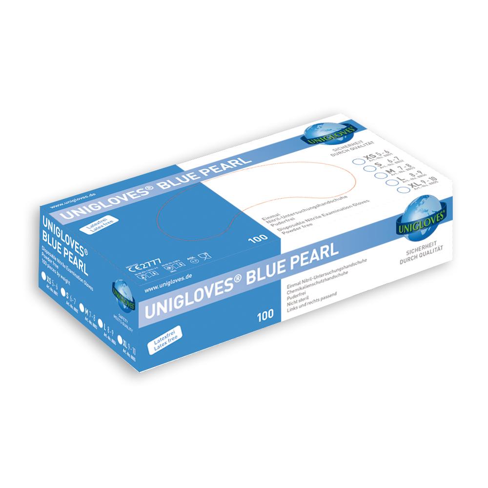 Unigloves Blue Pearl | Nitrilhandschuhe | 100 Stück | Größe S