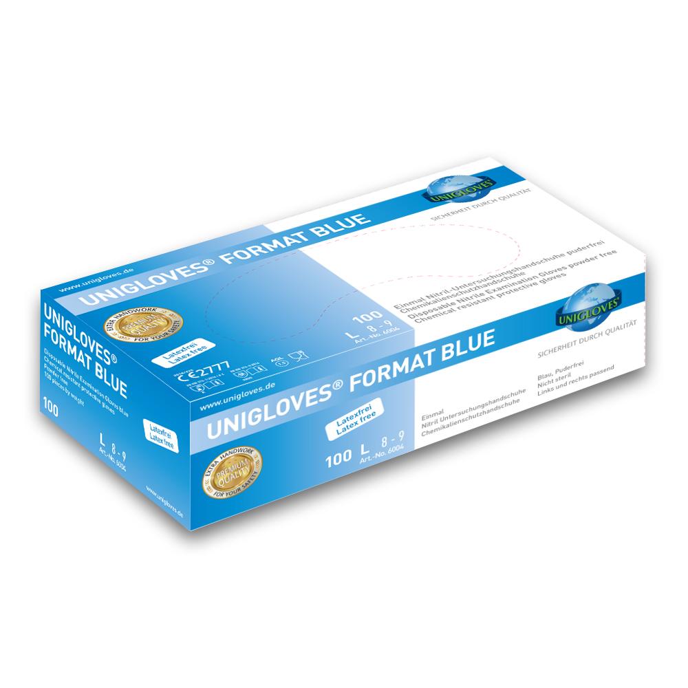 Unigloves Format Blue | Nitrilhandschuhe | 100 Stück | Größe S