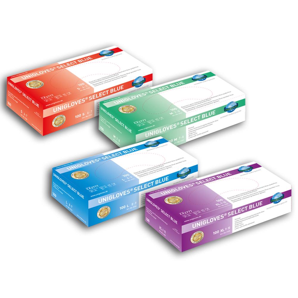 Unigloves Select Blue | Latexhandschuhe | 100 Stück | Größe L