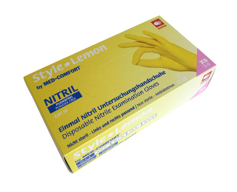 Med-Comfort Style Lemon | Nitril Handschuhe | 100 Stück | Gelb