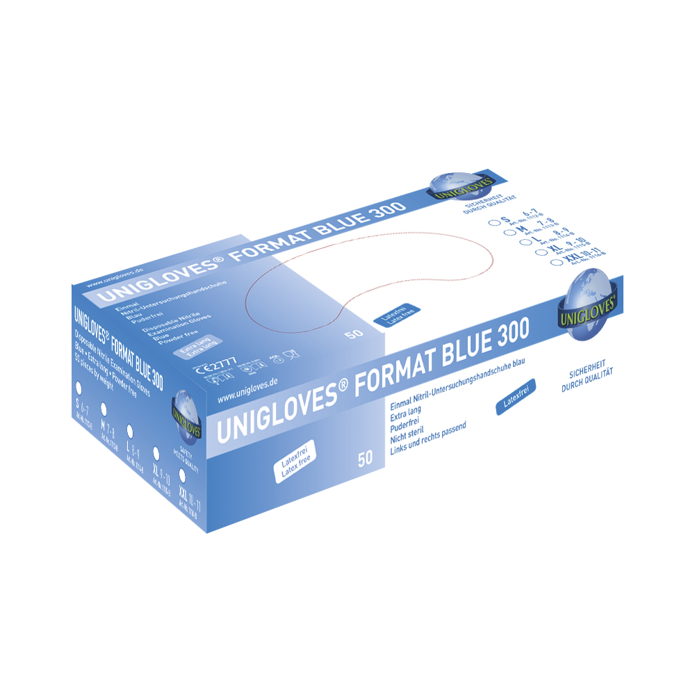 Unigloves Format Blue 300 | Nitrilhandschuhe | 50 Stück | Größe XL
