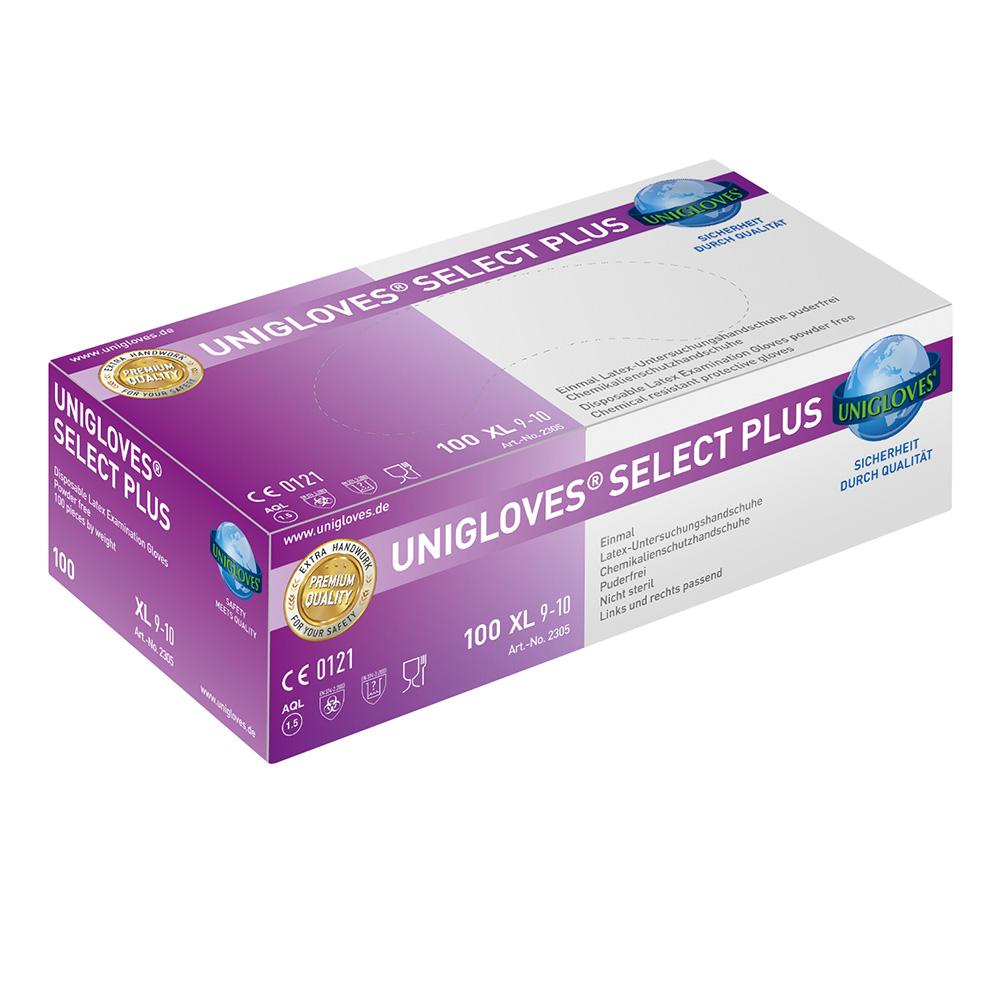 Unigloves Select Plus | Latexhandschuhe | 100 Stück | Größe XL