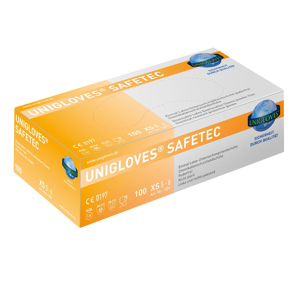 Unigloves Safetec | Latexhandschuhe | 100 Stück | Größe S