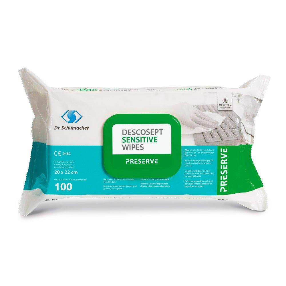 Descosept Sensitive Wipes | Alkoholische Schnelldesinfektionstücher | 100 Stück | 20 x 22 cm