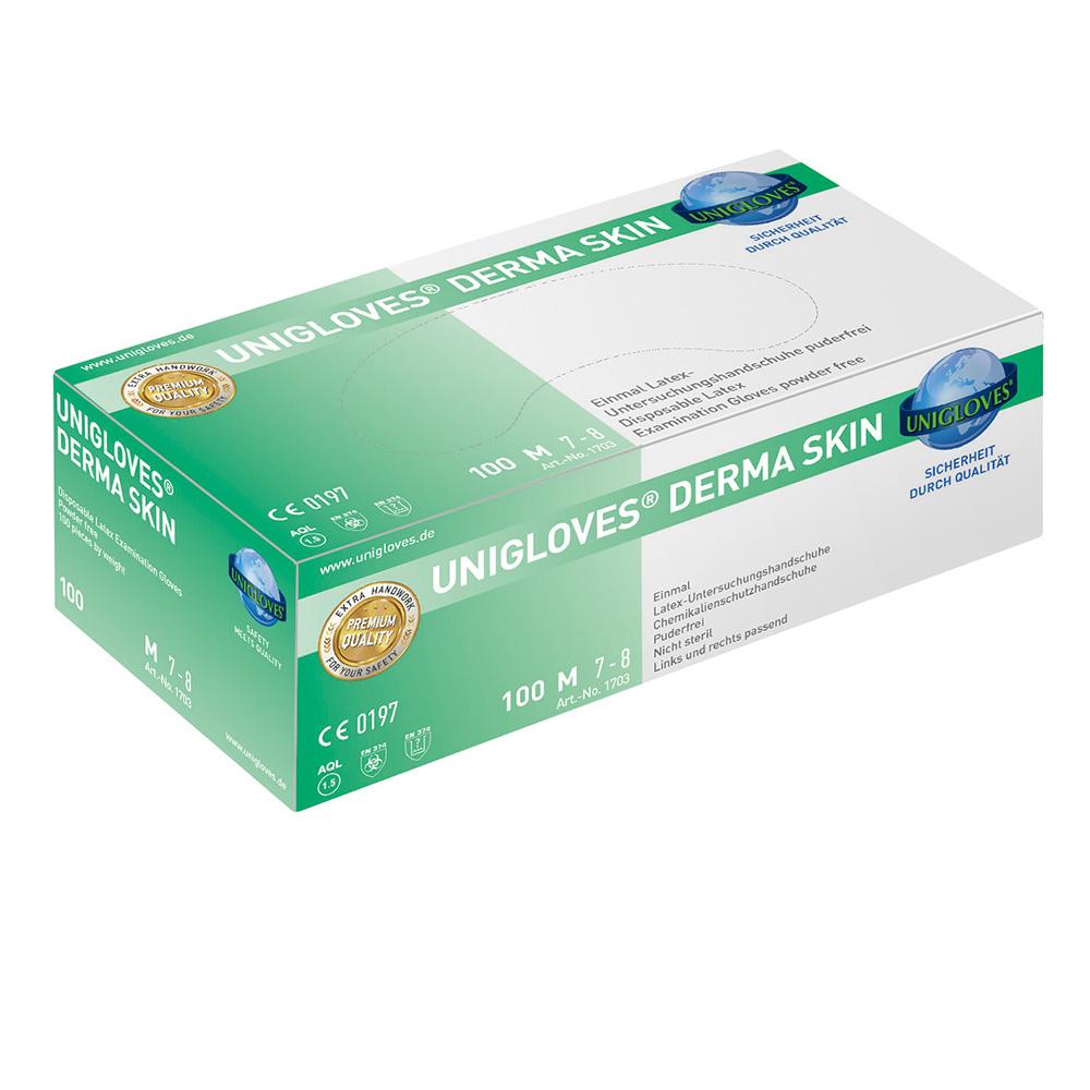 Unigloves Derma Skin | Latexhandschuhe | 100 Stück | Größe S