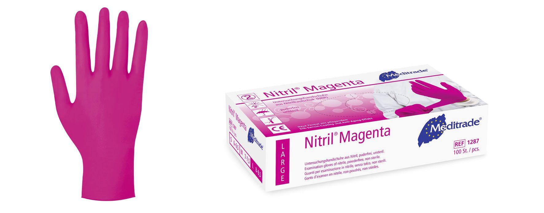 Meditrade Nitril Magenta | Nitril Handschuhe | 100 Stück | Größe S