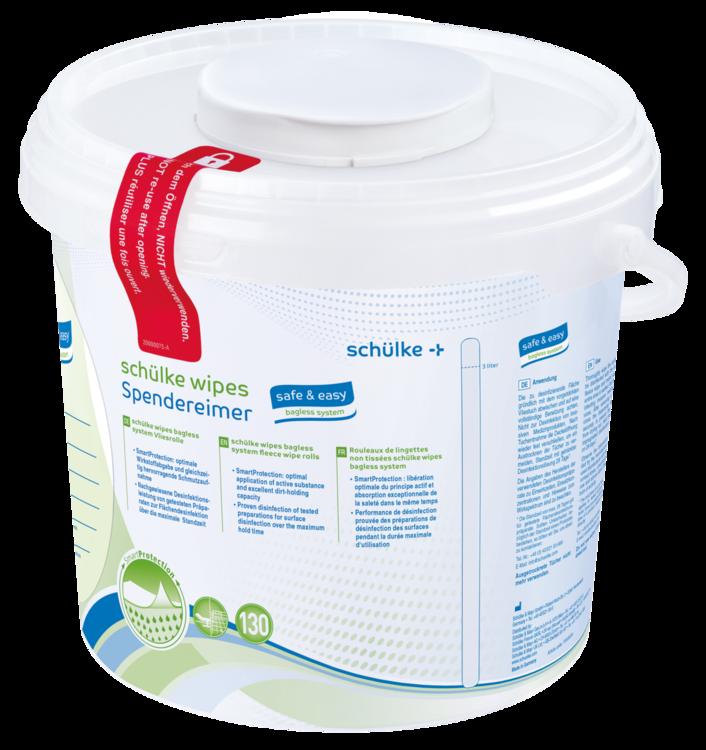 schülke wipes safe+easy – Spenderbox | 1 Eimer | Desinfektionstücher