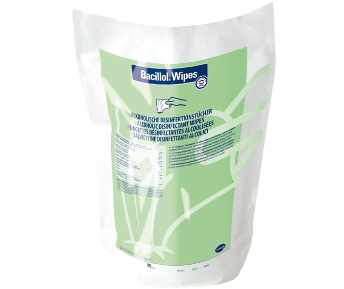 Bacillol Wipes | Schnelldesinfektionstücher | 38 x 20 cm | Beutel (90 Tücher)