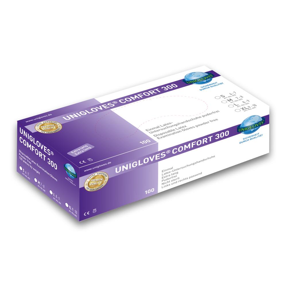 Unigloves Comfort 300 | Latexhandschuhe | 100 Stück | Größe L